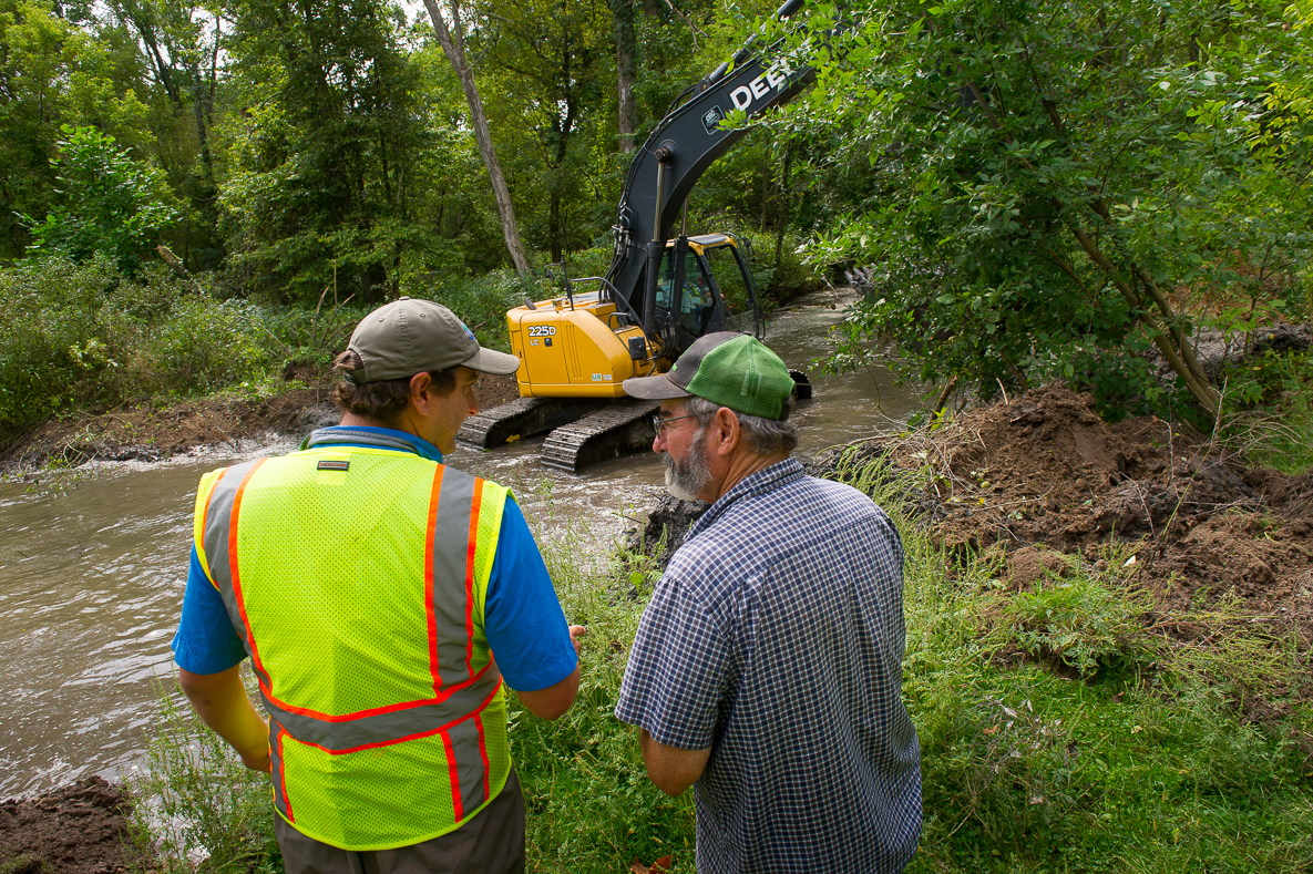 Stream habitat improvement project (Toewood) in High Bank Creek, Barry County - in the Thornapple River watershed near Nashville Mi.